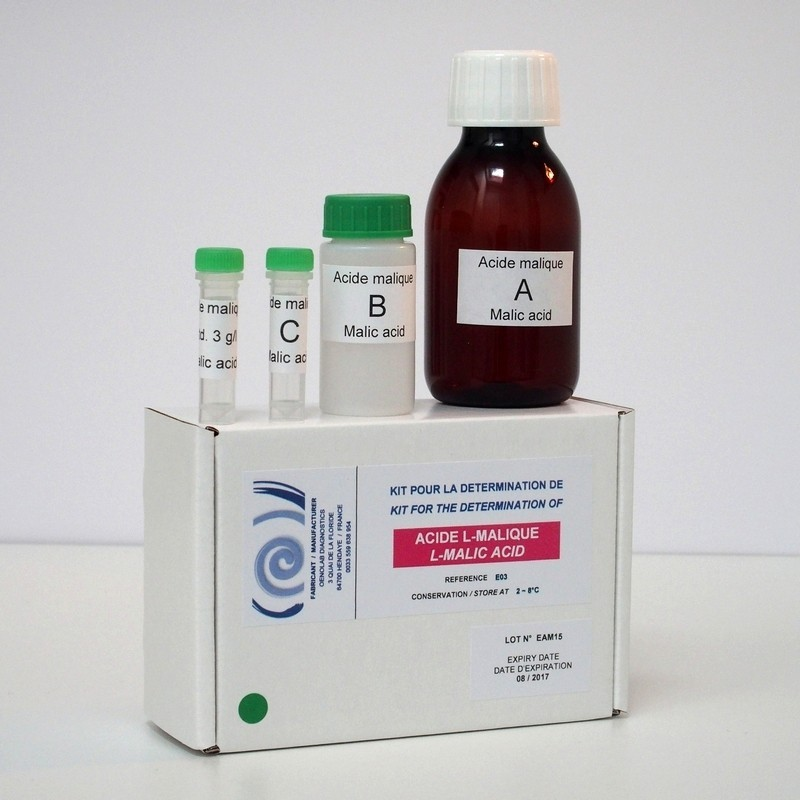Enzymatic kit for determination of L-malic acid.